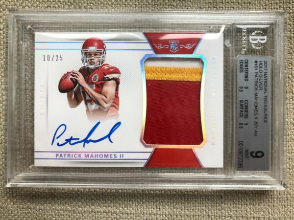 2017 National Treasures Patrick Mahomes RPA RC 3-Color Patch AUTO 1025 BGS 910
