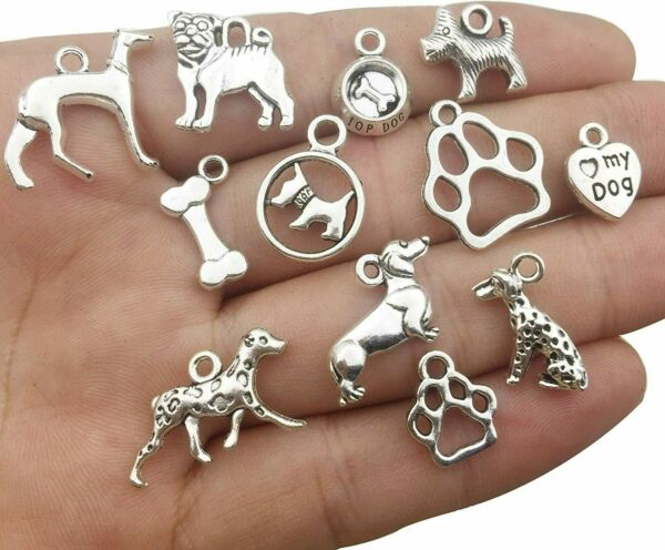 10 Dog Charms Puppy Pendants Assorted Charms Lot Paw Print Antiqued Silver Mix $3.82