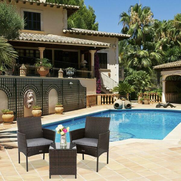 Outdoor Furniture Patio Set Wicker Rattan Conversation Set Chairs Table 3pcs $104.95