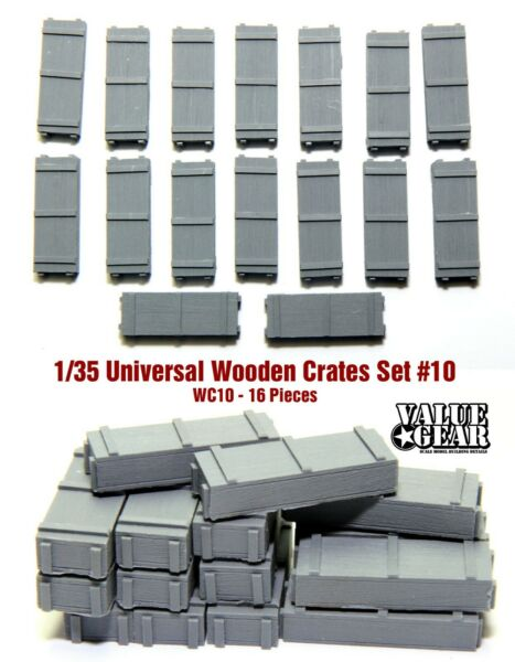 1 35 Universal Wooden Crates #10 Value Gear Details 16 pcs Resin Stowage