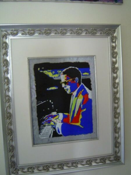 RAY CHARLES music legend ORIGINAL Oil on Glass Painting by Erik the Artist