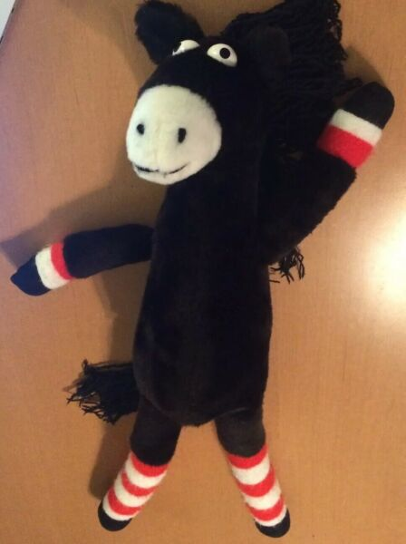 Jared D Lee Studios Black Horse Plush With Red and White Striped Feet 23