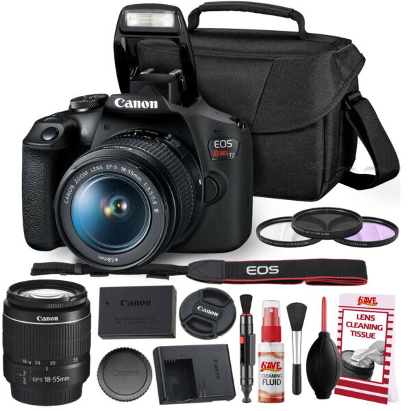 Canon Rebel T7 DSLR Camera +18-55mm Lens Kit and Carrying Case Creative Filters