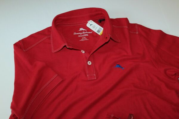 Tommy Bahama Polo Shirt Tropicool Embroidered Pique Regal Red T216945 Medium M