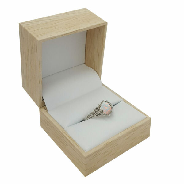 Lots of 12 Premium Burlap and Wood Jewelry Ring Display Jewelry Gift Boxes