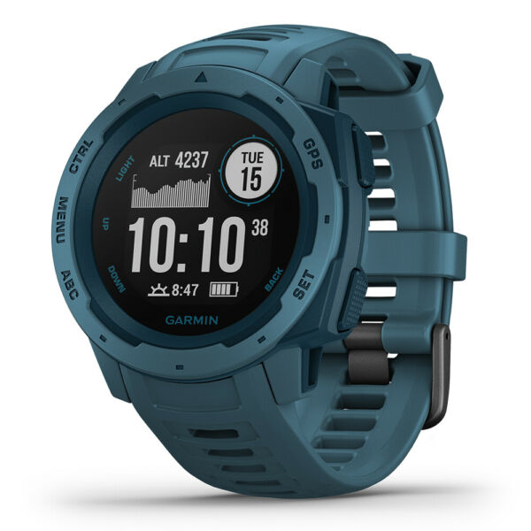 Garmin Instinct Rugged GPS Outdoor Watch - Lakeside Blue (OPEN BOX)