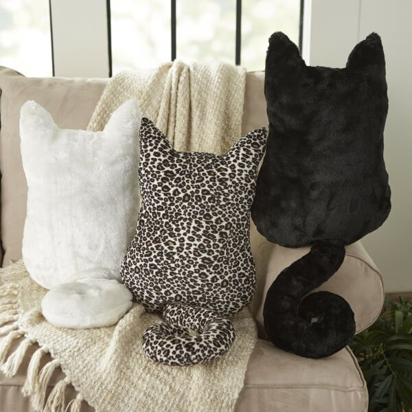 Cozy Cat Silhouette Plush Pillow for Feline Lovers and Children $11.98