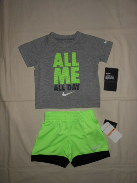 NWT Nike Baby Boys 2pc grey shirt and lime short outfit set size 12M 18M 24M