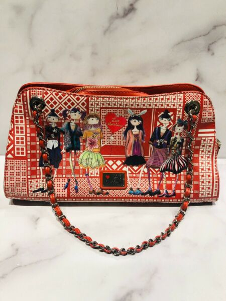 Love MOSCHINO Red Coated Canvas Leather Girls Themed Heart Chain Bag $375.00