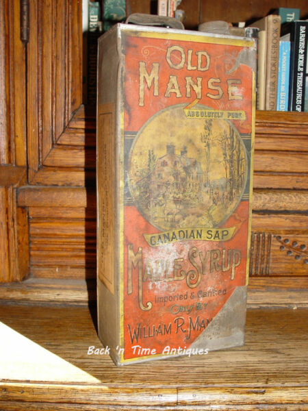 Rare 19th c. Old Manse Maple Syrup Paper Label Tin  Antique Advertising