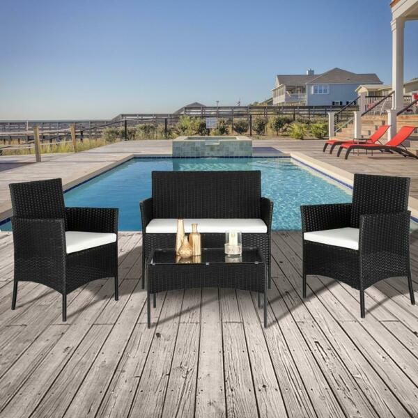 4PCS Outdoor Patio Rattan Black Wicker Table Sofa Furniture Set w Cushions
