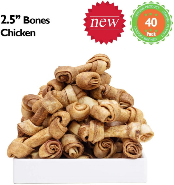 MON2SUN Dog Rawhide Knot Bones 2.5 Inch for Puppy and inch 40 Count $15.70