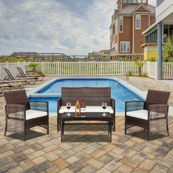 4 PC Rattan Patio Furniture Set Garden Lawn Sofa Cushioned Seat Wicker Sofa New $159.99