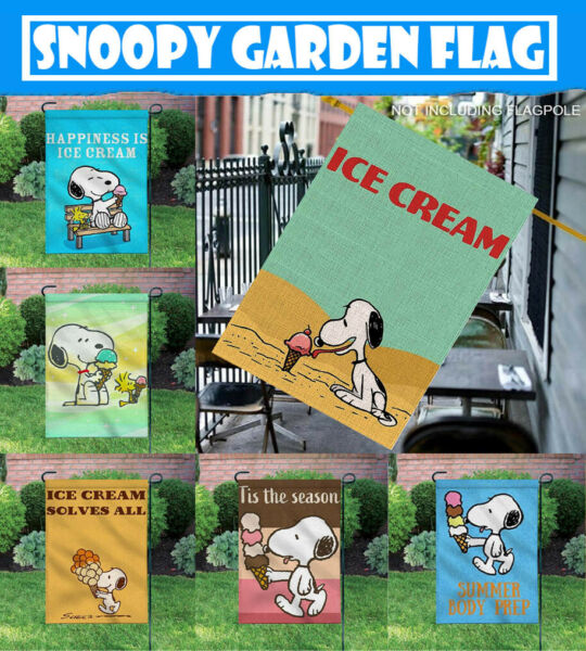 Outdoor Decor Ice Cream Lovely Snoopy 12X18 Inch Double-sided Garden BannerFlag