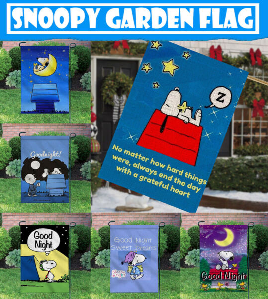 Good Night Snoopy Outdoor Decor Yard Double-sided 12X18 Inch Garden BannerFlag