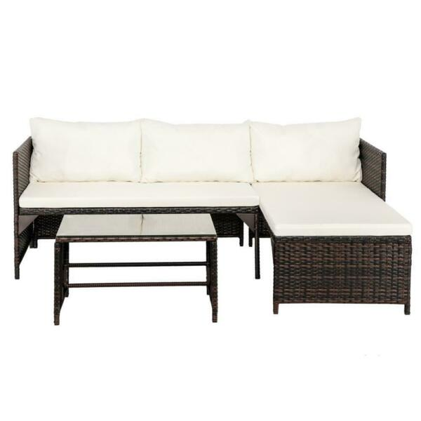3Pcs Patio Furniture Rattan Sofa Set Garden Outdoor Yard Outdoor 4 Slections US $119.99