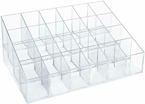 24 Slot Clear Acrylic Lipstick Stand Makeup Organizer Cosmetic Supply Display