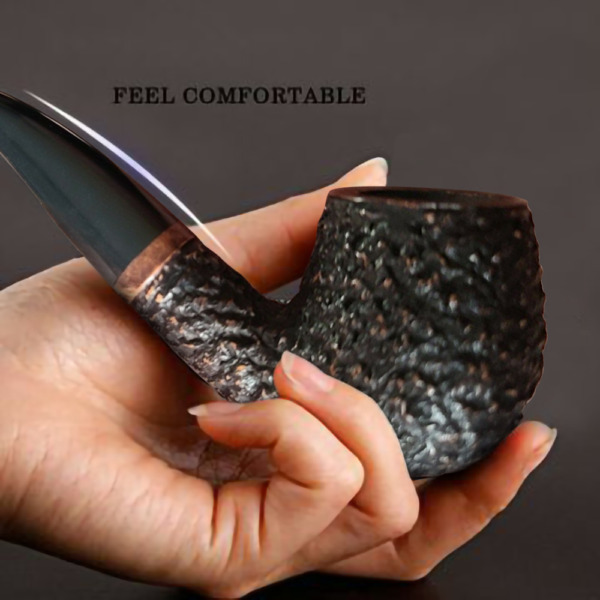 Real 25 year old Briar Wood Pipe Tobacco Cigaret sand blasted Wooden Pipes Italy $44.99