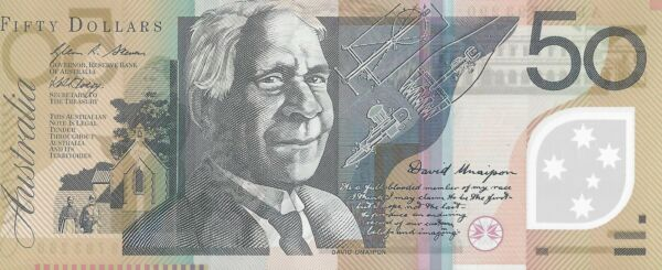 Australian $50 Dollar Polymer Banknote Lightly Circulated Valid Currency