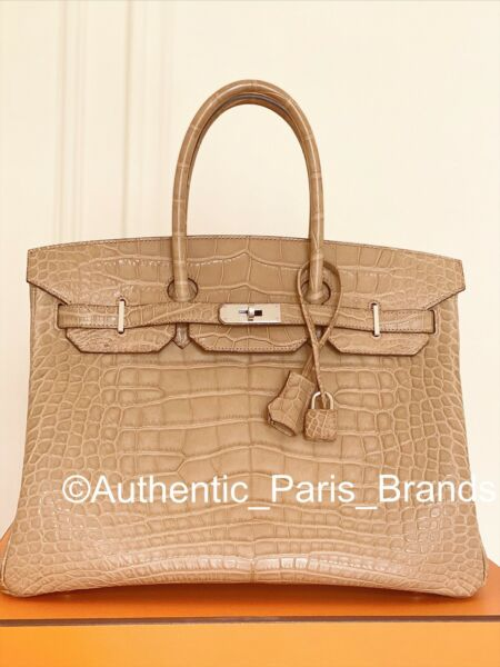 HERMES BIRKIN 35 MATT ALLIGATOR CROCODILE BAG RAREST BEIGE POUSSIER PALLADIUM HW