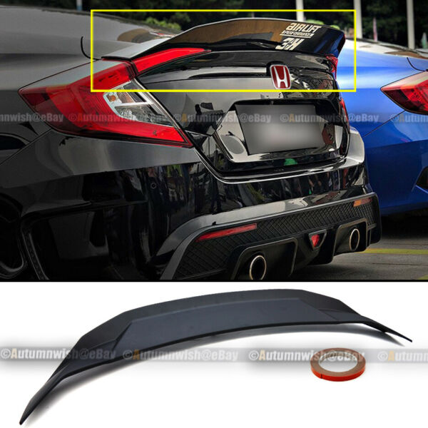 For 16 20 Civic 4DR Sedan Unpainted HighKick Duckbill Rear Trunk Wing Spoiler