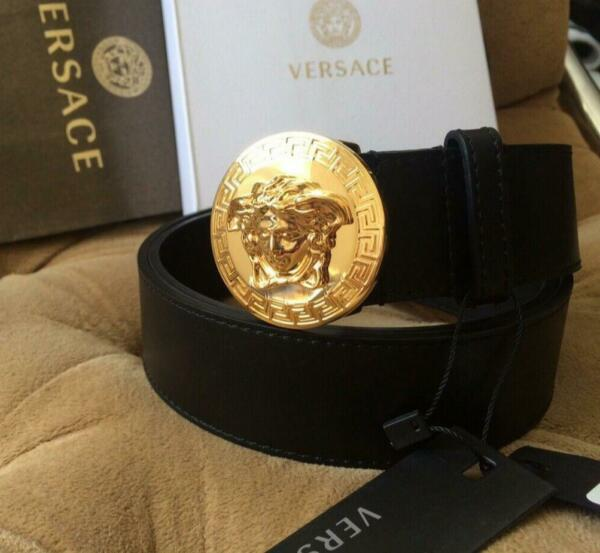 Authentic Versace Small Circle Medusa Black Leather Gold Buckle Belt