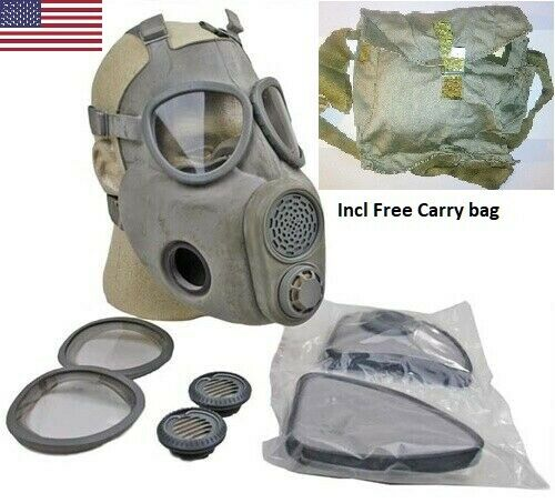 Full Face NBC Gas Mask Respirator Military Czech M10 w Filters Free Bag NOS $39.99