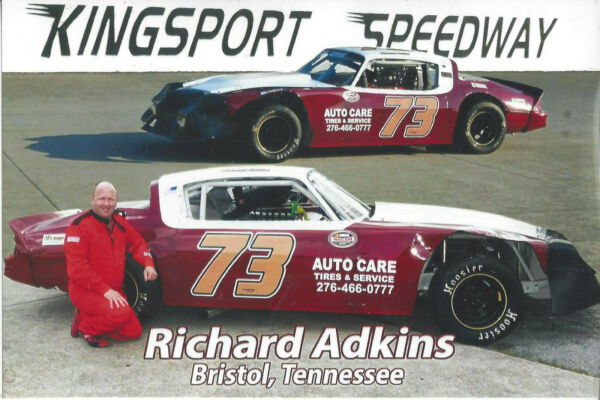 RICHARD ADKINS quot;AUTO CAREquot; #73 KINGSPORT SPEEDWAY NASCAR WHELEN SERIES POSTCARD
