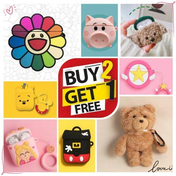 AirPods Case Silicone Protective Cover Cute 3D Cartoon For Apple AirPod 2