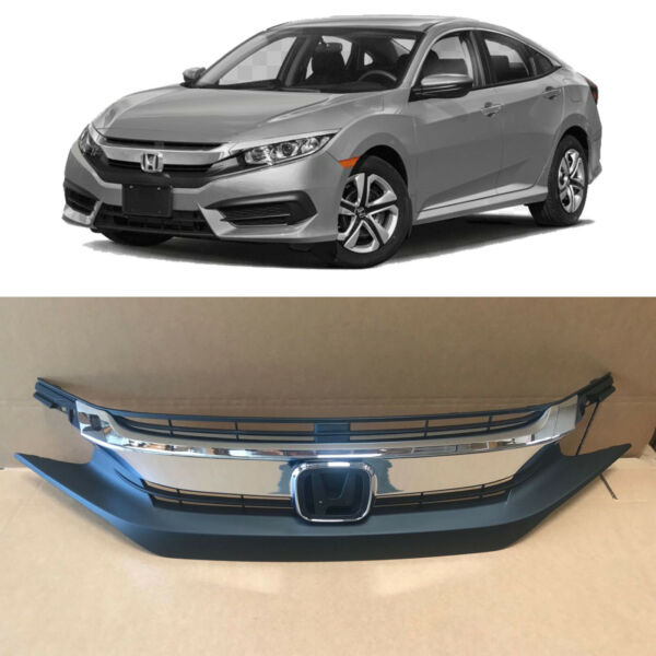 Chrome Front Upper Bumper Replacement Grille for 2016 2017 2018 Honda Civic