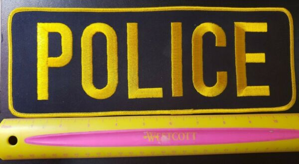 POLICE Large 11x4 inch Patch Gold Letters and Outline Raid Swat Vest $14.75