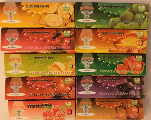 10 Packs Hornet 1.25quot; Flavoured Rolling Papers. 50 Leaves Per Pack. USA Seller
