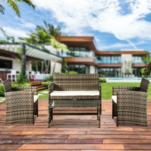 4PC PE Rattan Outdoor Patio Furniture Set Garden Lawn Loveseat Sofa Wicker $179.99