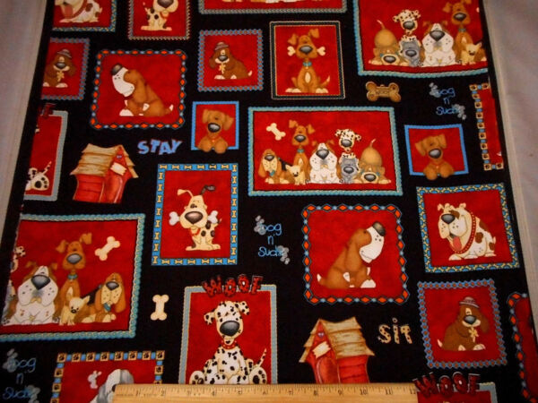 Dog Fabric By Yard SALE Funny Dogs Bone Paw Words Red Patch on Black Cotton Bolt $8.49