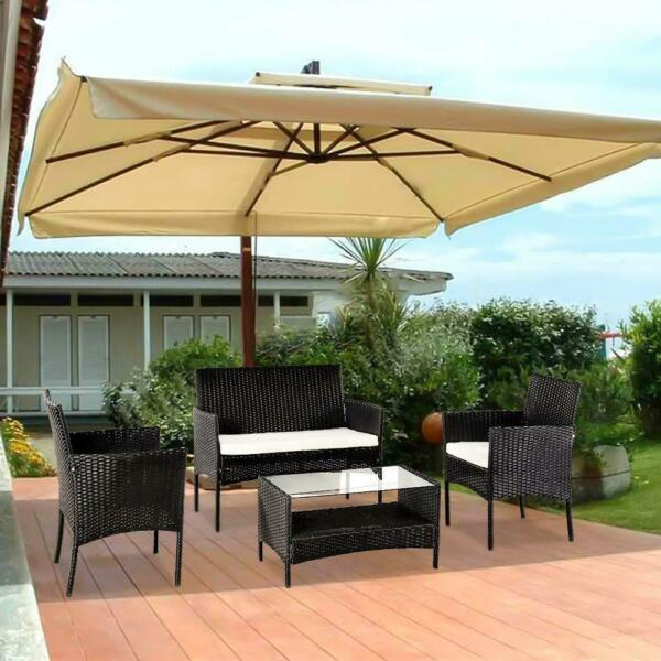 4PC Outdoor Rattan Wicker Furniture Set Patio PE Cushioned Couch Loveseat Table $235.98