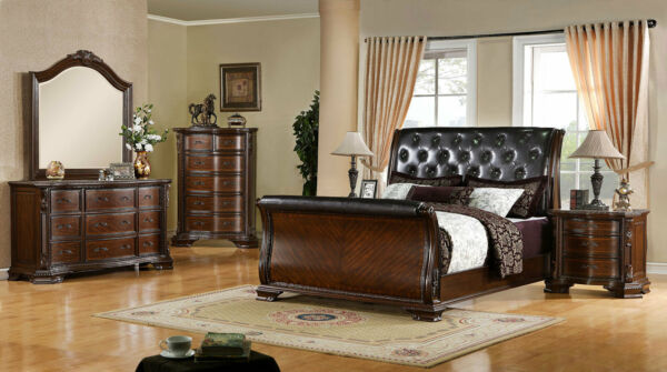 Baroque Design Cherry Brown 5 pieces Bedroom Set w King Faux Leather Bed ICA8