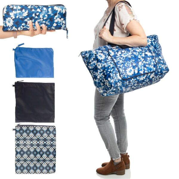 4pc Packable Travel Overnight Gym Shopping Weekender Bag Tote Cosmetic Makeup $12.99