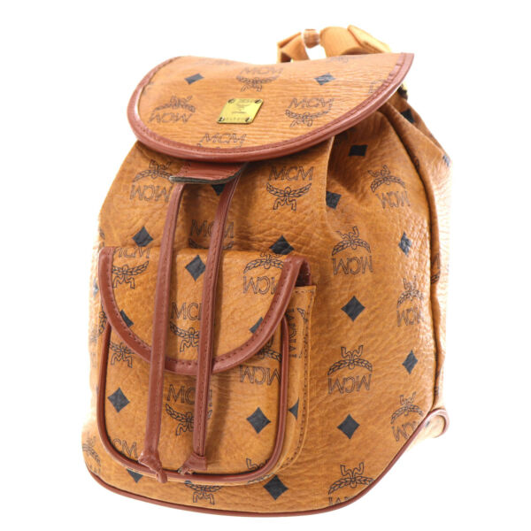 MCM Logos Pattern Drawstring Backpack Brown Coated Canvas Germany Auth #EE388 O