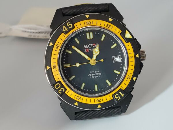 Sector Exp 101 Date Yellow And Black Water Resistant New Watch