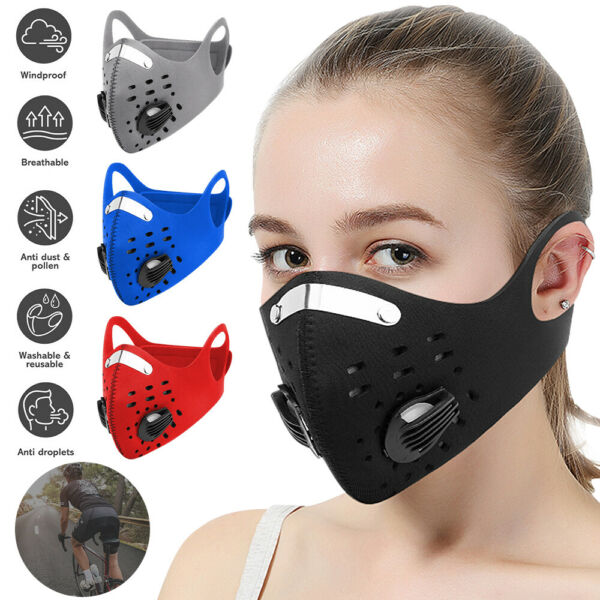 Adult Unisex Reusable Fashion Face Mask with Respiratory Valve and Filter