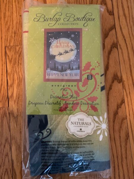 "Evergreen burlap boutique MERRY CHRISTMAS HAPPY NEW YEAR Flag 28quot; X 44"" NIP"