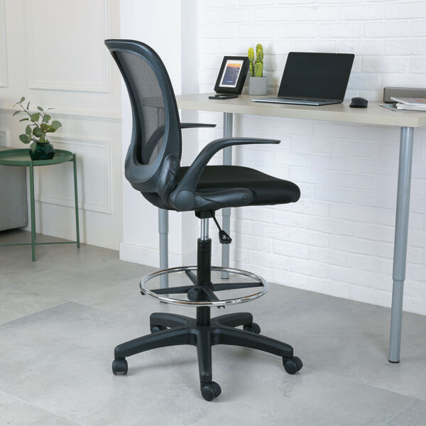 Height Adjustable Mesh Drafting Chair Mid-Back W Armrest Office Home Bar Chair