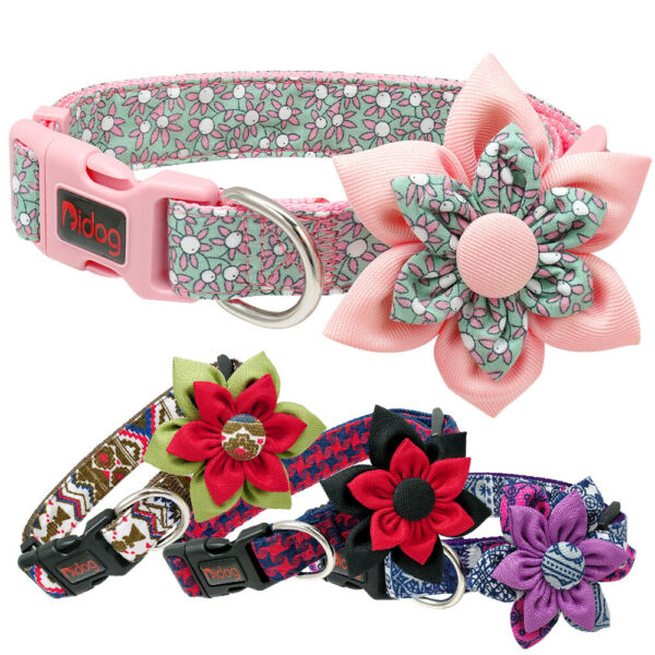 Cute Flower Girl Dog Pet Collars Necklace Pink Purple Red Pug Small Medium Large $8.99