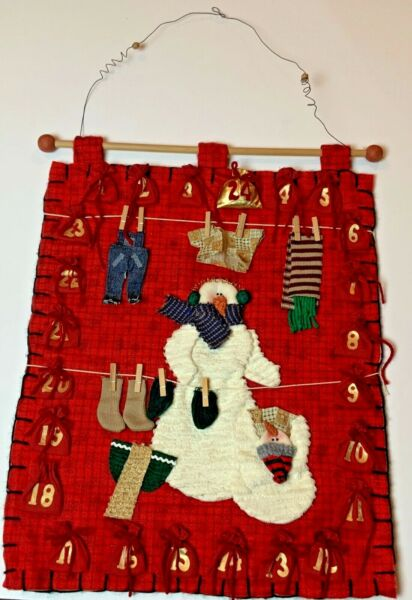 Vintage Handmade Advent Christmas snowman Calendar count down bags to put candy $19.99