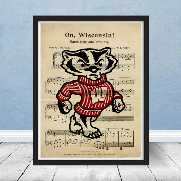 University of Wisconsin Badgers Football Logo Fight Song Sheet Music Gift Art