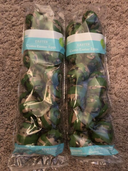24 Plastic Easter Basket Eggs green brown camo camouflage Fillable empty lot