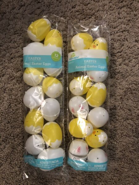 24 Plastic Easter Basket Eggs bunnies chicks white yellow Fillable empty lot