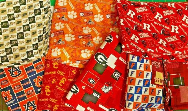 NCAA COTTON Fabric 14 yard piece 9 inches X 42 inches ---Choose your team