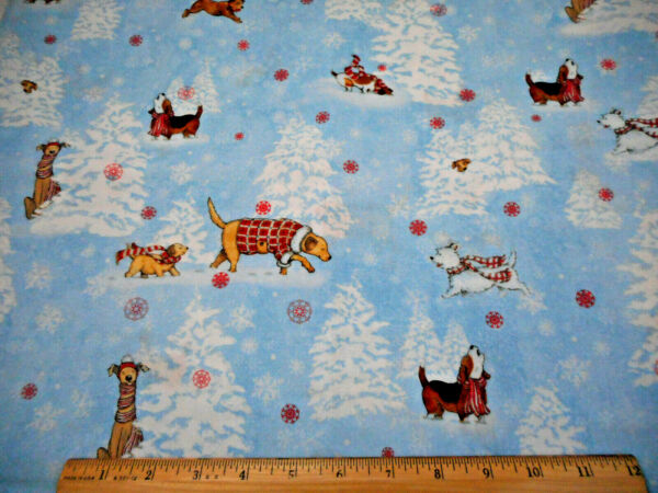 Christmas Fabric 1 3 4 Yard Snow Dogs Playing Howling on Blue Cotton #34 OOP #C
