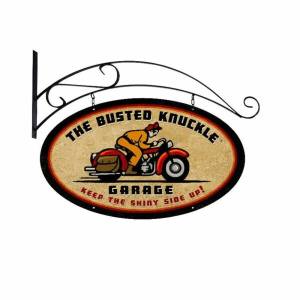 BUSTED KNUCKLE GARAGE BIKE RIDER 24quot; DOUBLE SIDED HEAVY DUTY USA MADE METAL SIGN $270.00